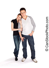 Casual Attractive Young Couple on White