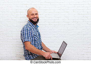 Casual Bearded Business Man Sitting Hold Laptop Online Communication