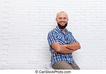 Casual Bearded Business Man Sitting Smiling Folded Hands Office