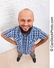 Casual Bearded Business Man Smiling Folded Hands Top View
