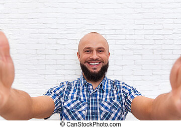 Casual Bearded Business Man Taking Selfie Photo Office Over White Brick Wall