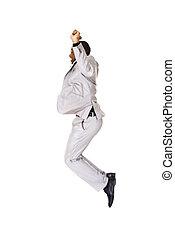 Casual black man jumping