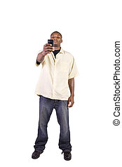 casual black man taking a picture with his phone - Isolated...