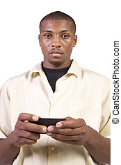 Casual Black man Texting On His Cell Phone - Isolated casual...