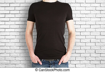 Casual boy in black shirt front
