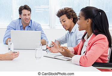 Casual business team having a meeti