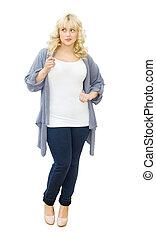 Casual chic - beautiful woman looking sideways