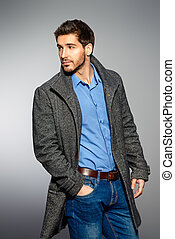 casual clothes - Handsome man wearing jeans clothes and a...