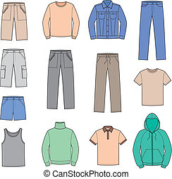 Casual clothes - Vector illustration of men's casual...