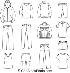 Casual clothes - Vector illustration. Set of men's and women...