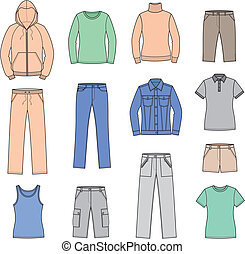Casual clothes - Vector illustration. Set of women's casual ...
