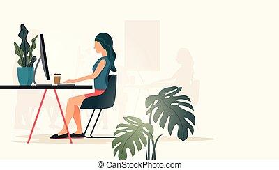 casual, computadora, mujeres, trabajando