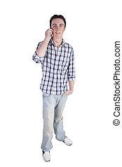 casual, conversa homem, ligado, um, telefone pilha