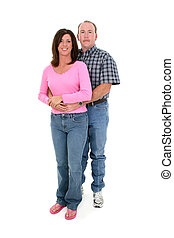 Couple Standing - Casual Couple Standing Together Over White...