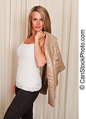 Casual dress - Beautiful mature blonde in black, white and...
