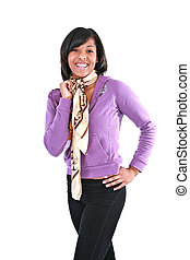 Casual Dressed Young African American Female Smiling