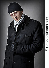 Casual. fashion portrait of sexy handsome man