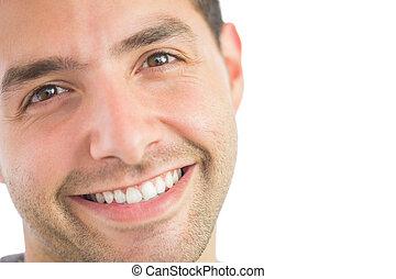 casual, feliz, homem, olhando câmera