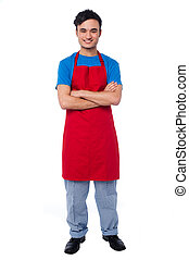 Casual full length portrait of male chef - Full length...