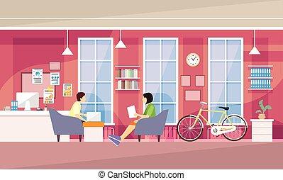 casual, gente, grupo, en, moderno, oficina, sentarse,...