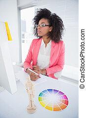 casual, gráfico, trabajando, diseñador