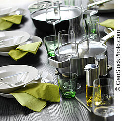 Casual green table setting - Casual table setting with...