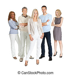 Casual group of people standing over white
