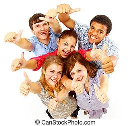 casual, grupo, de, feliz, gente, aislado, encima, blanco