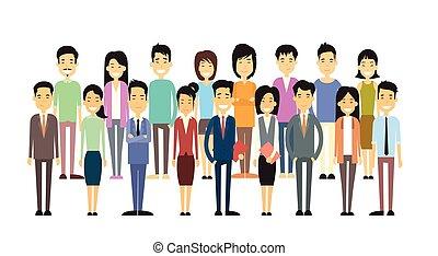 casual, grupo, negócio asiático, pessoas