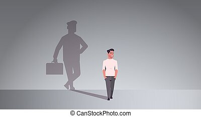 casual guy dreaming about being businessman shadow of business man with briefcase imagination aspiration concept male cartoon character standing pose full length flat horizontal