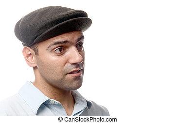 casual, homem, retrato, com, chapéu