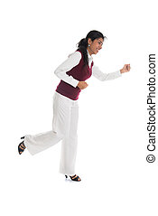 casual indian female running with white background