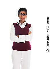 casual, indianas, femininas, com, olhar sério