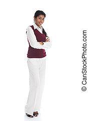 casual, indianas, femininas, em, suéter, braço cruzado