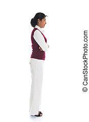 casual, indianas, femininas, em, suéter, vista lateral