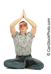 casual, ioga, homem jovem