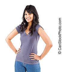 casual, jovem, indianas, retrato mulher