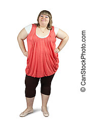 casual large girl. Isolated with clipping path