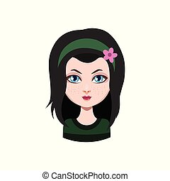 Casual long haired girl - black hair color