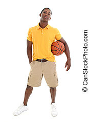Casual Man Basketbal - Casual man dressed in yellow pullover...