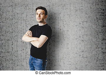 casual man in black t-shirt