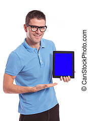 casual man presents his tablet with blue screen