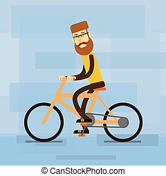 Casual Man Ride Bicycle