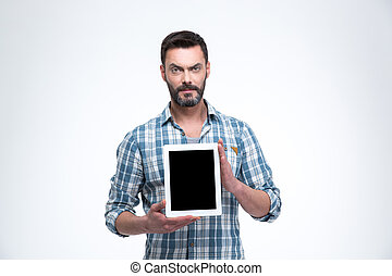 Casual man showing tablet computer screen