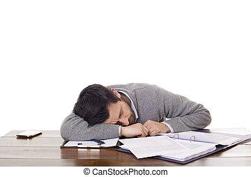 sleeping on a desk