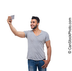 Casual Man Take Selfie Photo On Cell Smart Phone