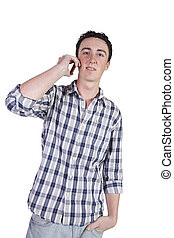 casual man talking on a cell phone - Isolated casual man...