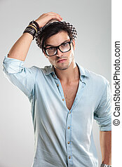 casual man wearing glasses