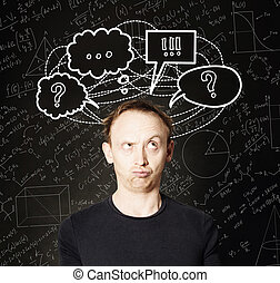 Casual man with hand drawing question mark and sketch bubble on blackboard science background. Education, student exam and brainstorm concept