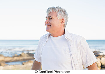 Casual mature man smiling